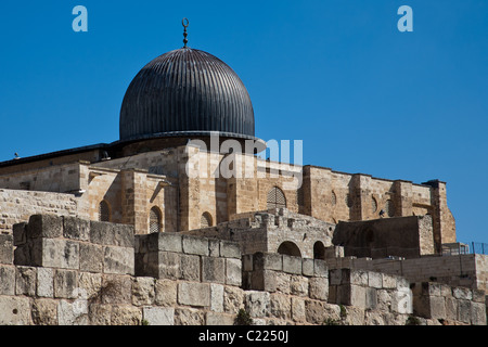 La Moschea di Al-Aqsa sul Monte del Tempio Foto Stock
