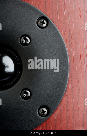 Close up di un tweeter nero da casa gli altoparlanti audio Foto Stock