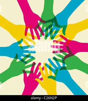 Mani multicolori illustrazione su uno sfondo luminoso. File vettoriale disponibile.