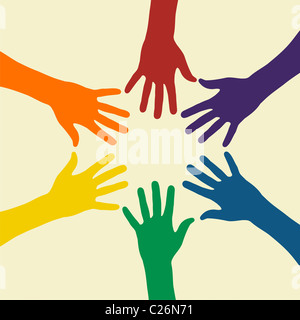 Rainbow mani illustrazione su uno sfondo luminoso. File vettoriale disponibile.