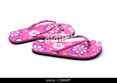 Sandali estivi, rosa flip flop, fiori, design floreale, Floral stampare Foto Stock