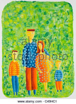 Pittura Acrilica di una donna incinta con la sua famiglia Foto Stock
