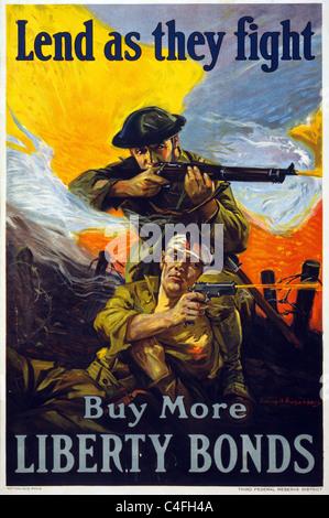 Prestare come essi lotta - Acquista più libertà di obbligazioni. Poster che mostra i soldati in battaglia, sparando Foto Stock