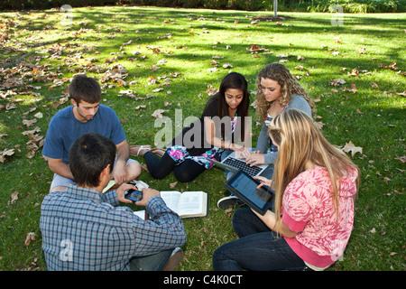 Multi etnico etnicamente diversi gruppo di discussione teens studiare insieme utilizzando il telefono cellulare Foto Stock