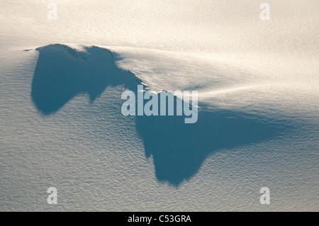 Lunghe ombre proiettate da un nunatak e torre della radio su Harding Campo di ghiaccio nel Parco nazionale di Kenai Foto Stock