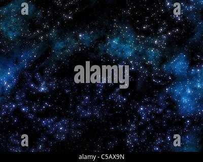 Grande immagine di un cielo stellato con nebula Foto Stock