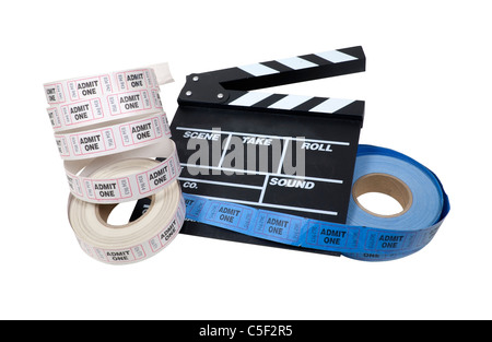 Il tempo del filmato mostrato dal rotolo di biglietti di ingresso e un marcatore di film board - percorso incluso Foto Stock