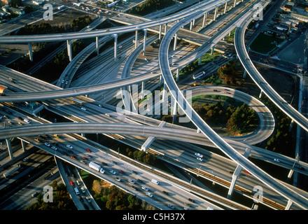 Vista aerea di Los Angeles superstrade Foto Stock
