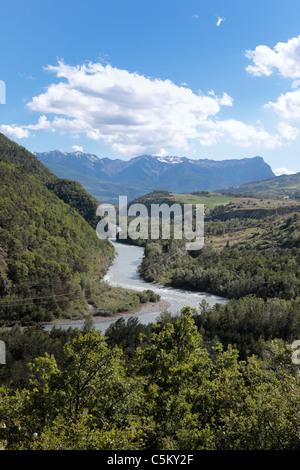 Valle alpina vicino a Briancon, Haute Provence, Francia Foto Stock