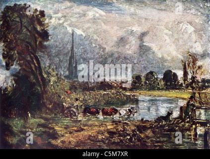 La pittura di John Constable; 'Salisbury Cattedrale'; Scuola di inglese; Olio su tela