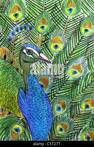 Peacock bird dancing Foto Stock