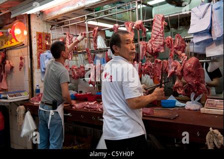Negozio di macellaio su Gage Street nel centro di Hong Kong, Cina Foto Stock