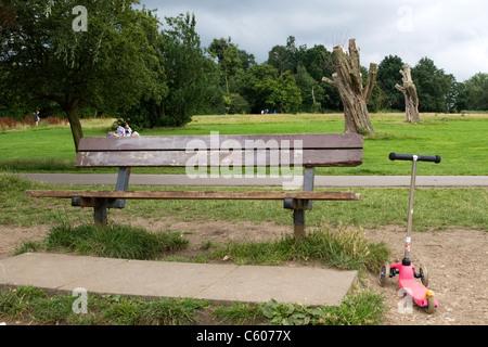 Parliament Hill Hampstead Heath panchina lapide in memoria di Luca e il suo cucciolo Blitzen scooter abbandonati da n. 1 stagno grigio grigio coperto di erba alberi