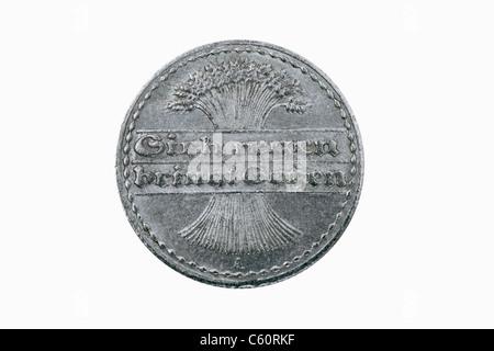 Dettaglio foto di 50 Pfennig medaglia del Reich tedesco a partire dall'anno 1922 Foto Stock