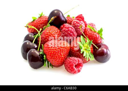 Vari tipi di frutta rossa Foto Stock