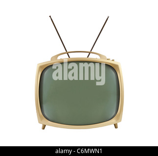 Anni Cinquanta la televisione portatile con le antenne verso l'alto. Isolato su bianco. Foto Stock
