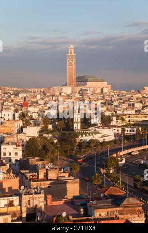 Moschea Hassan II, il terzo più grande moschea del mondo, Casablanca, Marocco, Africa del Nord Foto Stock