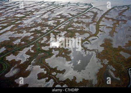 Vista aerea di marsh terre lungo il Cook Inlet, Alaska, Stati Uniti d'America Foto Stock