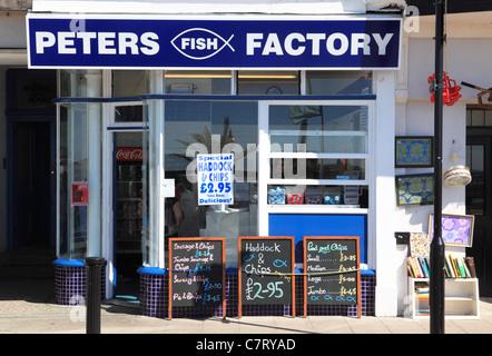Pesce e chip shop, in parata in Margate, Kent, England, Regno Unito Foto Stock