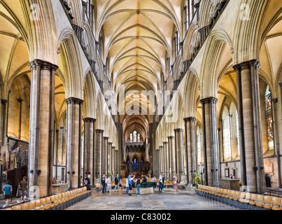 Navata della Cattedrale di Salisbury, Salisbury, Wiltshire, Inghilterra, Regno Unito Foto Stock