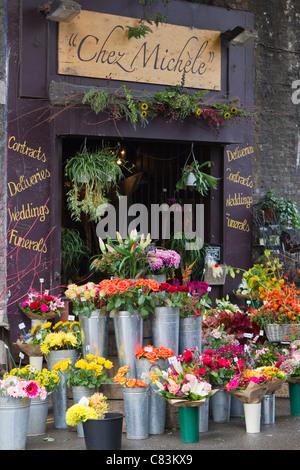 Flower stallo a Borough Market di Londra. Foto Stock