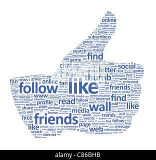 Illustrazione del pollice su un simbolo che è composto di parole su social media i temi. Isolato su bianco.