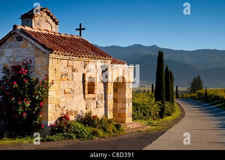 Cappella di preghiera presso la cantina Castello di Amorosa nella Napa Valley, California, USA