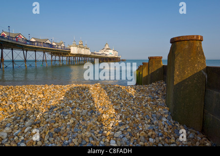 Eastbourne Pier, Spiaggia e pennelli, Eastbourne, East Sussex, England, Regno Unito Foto Stock
