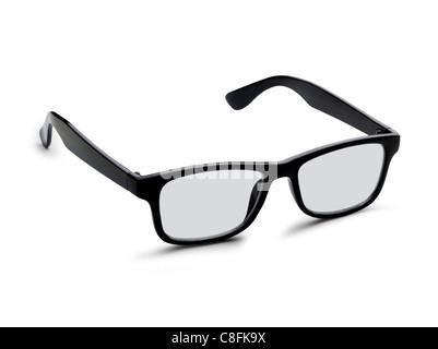 Un paio di occhiali neri isolati su uno sfondo bianco. Percorso di clipping è incluso Foto Stock