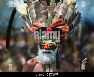 Gli artisti interpreti o esecutori tribali da Hagen a Sing-sing - Mt Hagen Visualizza nelle Highlands Occidentali Foto Stock
