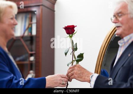 Un vecchio uomo dà una rosa di una vecchia signora, Zurigo, Svizzera Foto Stock