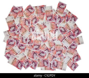 50 pound valuta britannica di banconote 50 sterline in contanti ricchi ricchi di diffondere il display