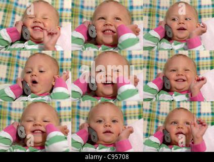 Composito di nove fotografie di un 1-anno-vecchio figlio avente una conversazione telefonica (in questo caso con Foto Stock