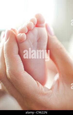 Baby il piede. Madre mentre tiene il suo bimbo di due mesi il piede. Foto Stock