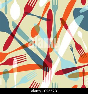 Trasparenza argenteria icone pattern seamless sfondo. Forcella, un cucchiaio e un coltello sagome su taglie e colori Foto Stock