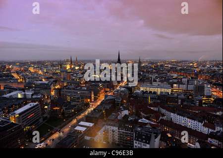 Centro citta', neve, città, panorama, Amburgo, Germania, Europa