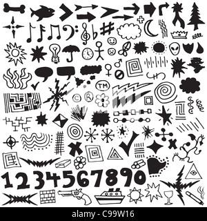 Raccolta di oltre 120 unica, disegnati a mano gli elementi di design. Foto Stock