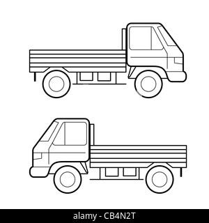 Auto , vettore linee nere su sfondo bianco Foto Stock
