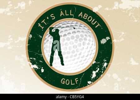 Abstract vintage grungy sfondo con pallina da golf e la silhouette di un giocatore di golf - tutto per il golf