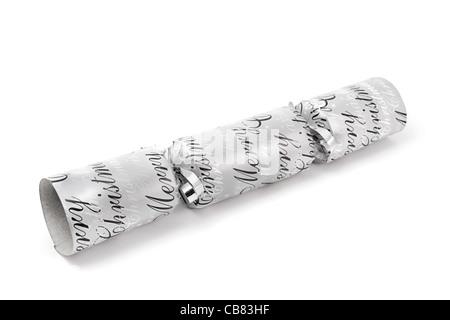 Silver christmas cracker isolato su bianco Foto Stock