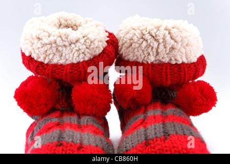 Caldi calzini rossi. Foto Stock