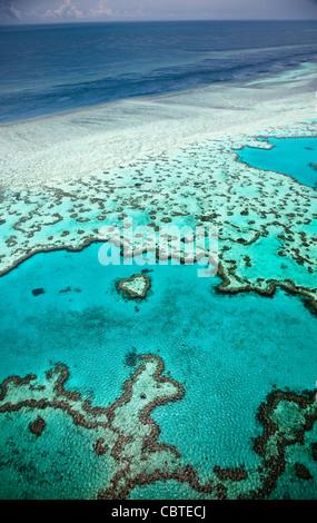 Vedute aeree del bel cuore Reef in la spettacolare grande barriera corallina vicino alle Isole Whitsunday nel Queensland, in Australia.