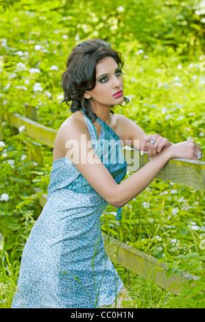 Bella giovane donna appoggiato su di una staccionata in legno cercando Foto Stock