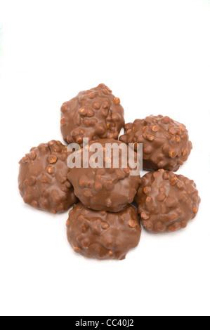 Cappuccino Biscotti pezzi su bianco Foto Stock