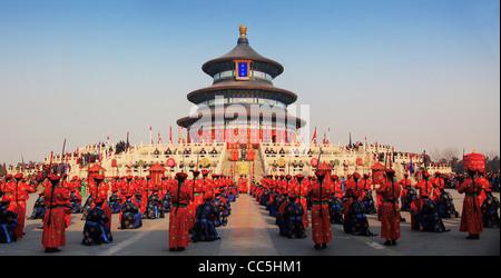 Adorando il cielo cerimonia al Tempio del Paradiso, Pechino, Cina Foto Stock
