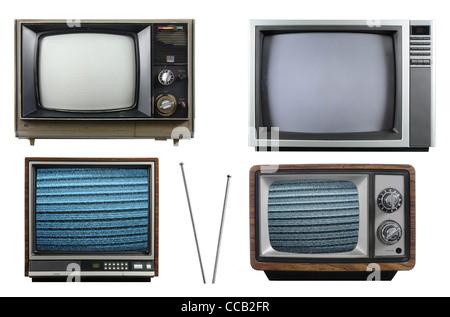 Vecchi televisori vintage con antenna isolata su uno sfondo bianco Foto Stock