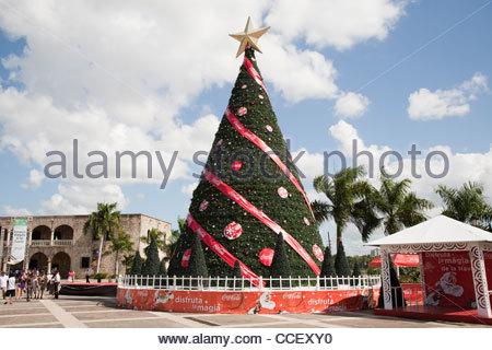 Piazza padre bellini,albero di natale,santo domingo,hispaniola,Repubblica dominicana,dei Caraibi Foto Stock