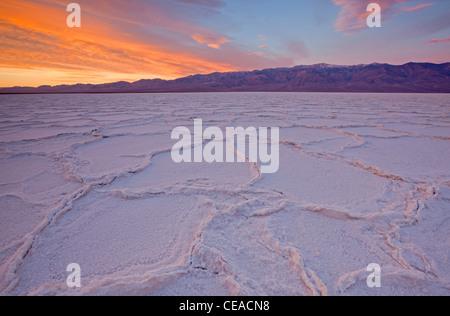 Alba sul sale di poligoni e pattern a Badwater Saline nel Parco Nazionale della Valle della Morte, CALIFORNIA, STATI Foto Stock