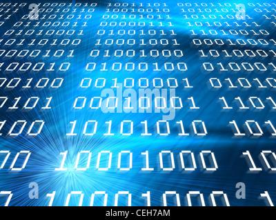 Blu codici binari sfondo , internet o di nuova concezione di tecnologia Foto Stock