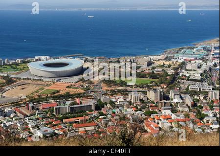 Green Point Stadium e sobborghi occidentali di Città del Capo da Signal Hill, Western Cape, Sud Africa Foto Stock
